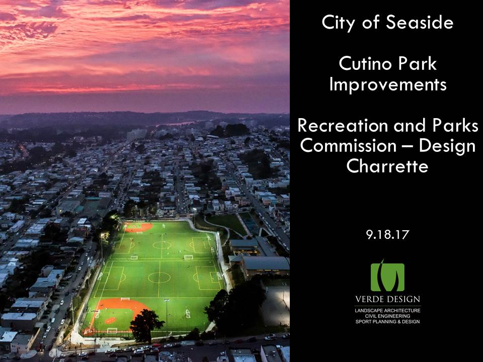 Verde Design-Cutino Park Proposal Cover Page with image of public park in center of city
