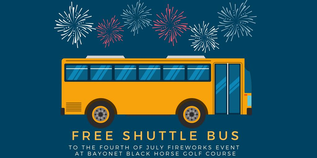 Shuttle Flyer with image of yellow bus and fireworks