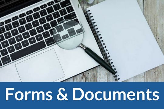 """Forms and Documents"" graphic icon with image of laptop and documents"
