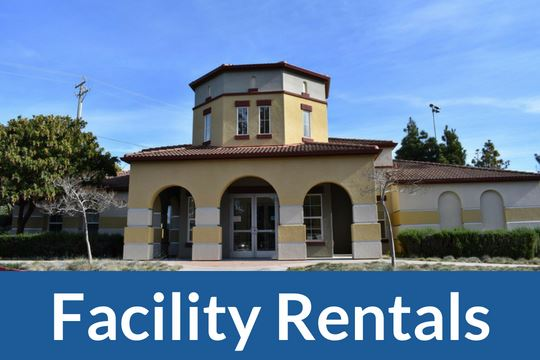 """Facility Rental"" graphic icon with photo of the Community Room at Soper"