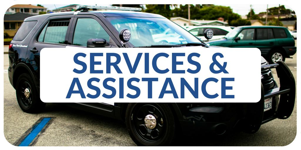 """Services and Assistance"" banner with image of police vehicle"