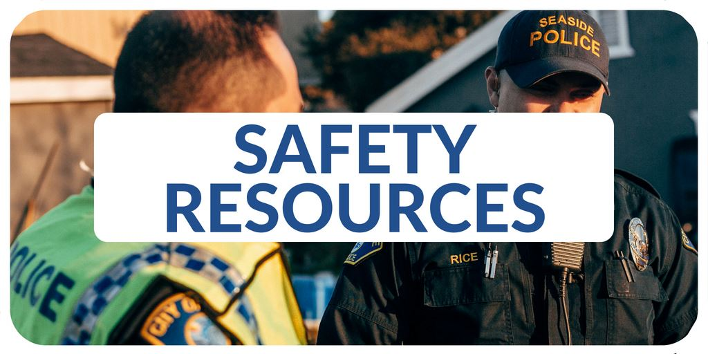 """Safety Resources"" banner with image of police officers"