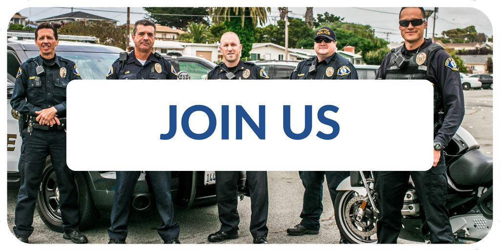 """Join Us"" banner with image of Police Officers standing by vehicles"