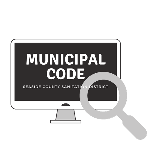 "Graphic of computer screen and magnifying class with text ""Municipal Code"""