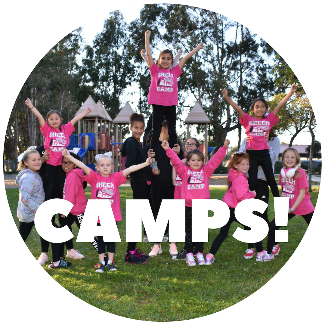 Icon with smiling children and text &#34CAMPS&#34