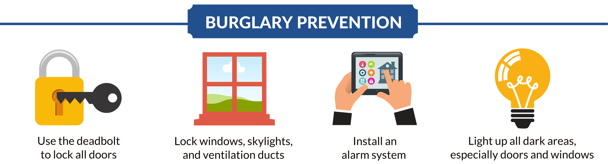 Banner with Burglary Prevention Tips