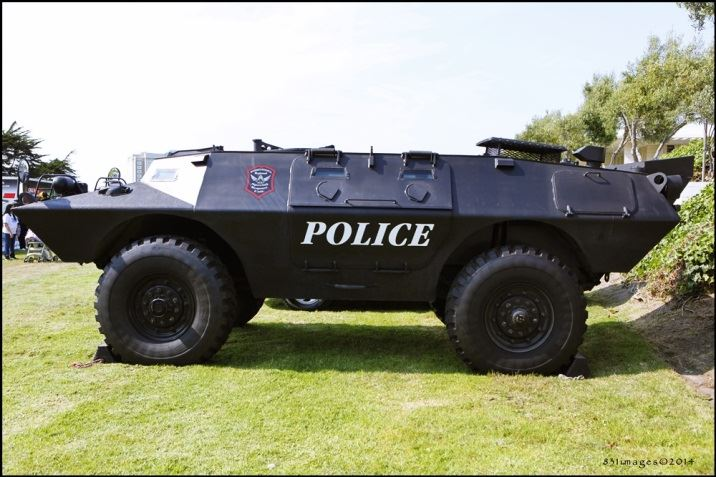 Police Armored Vehicle parked on City Hall lawn