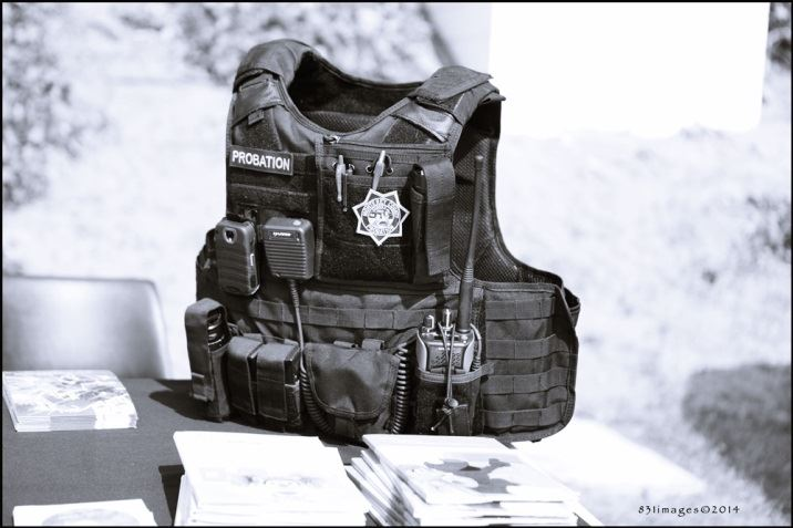 Black and white photo of Police Officer Vest