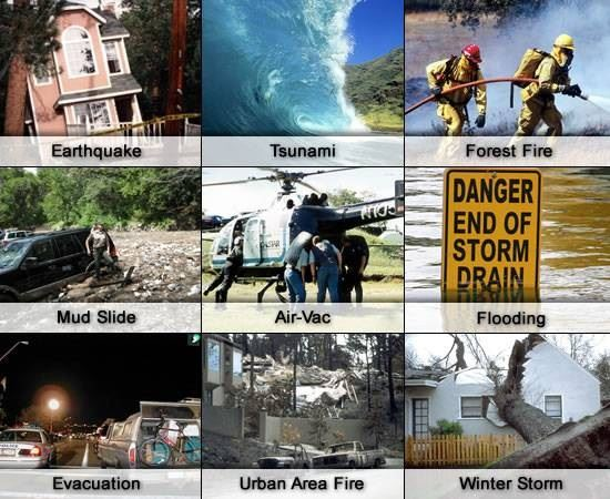 Photos of various natural disasters