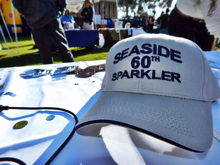 White and blue Seaside 60th Sparkler Hat