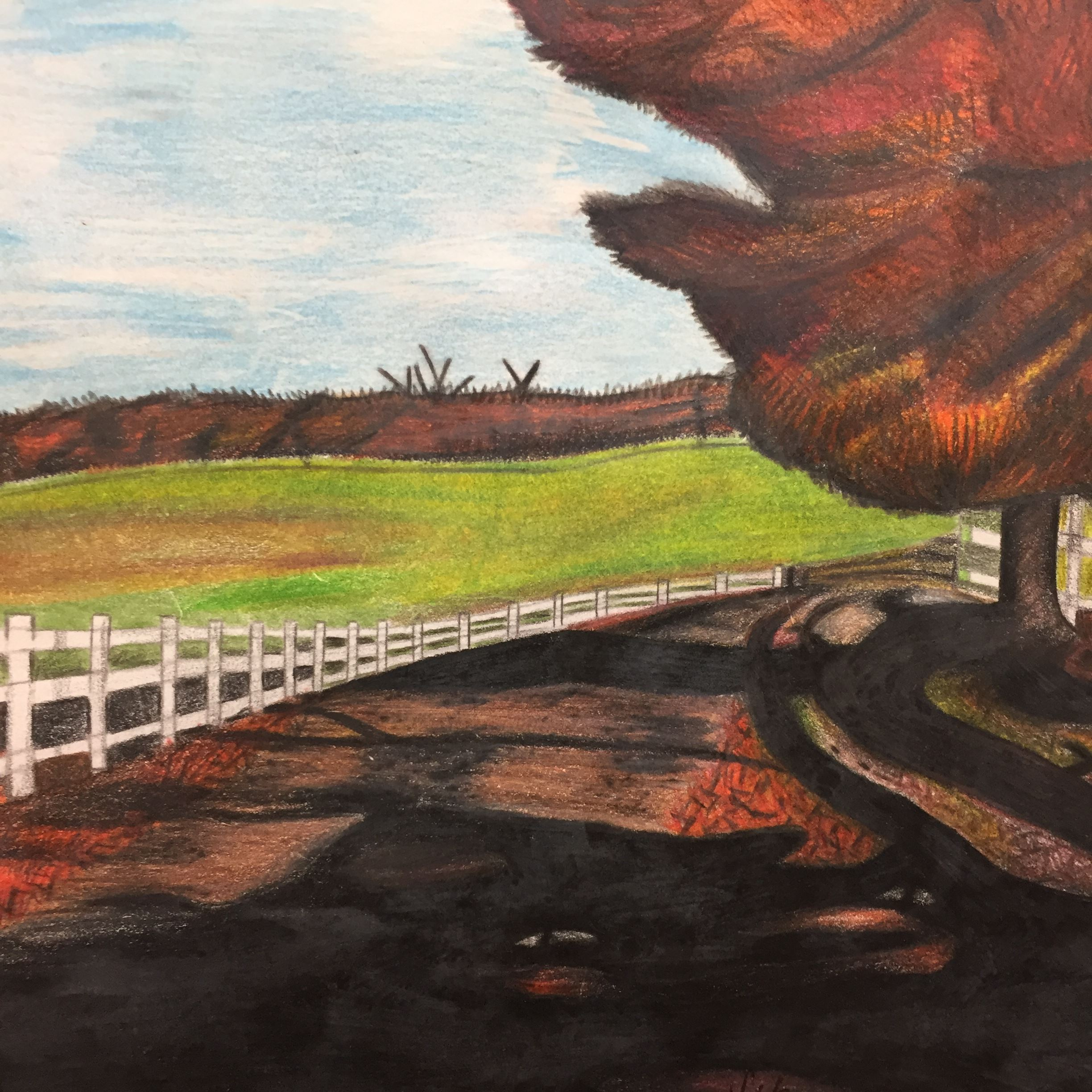 Painting of grass field, road and white fence