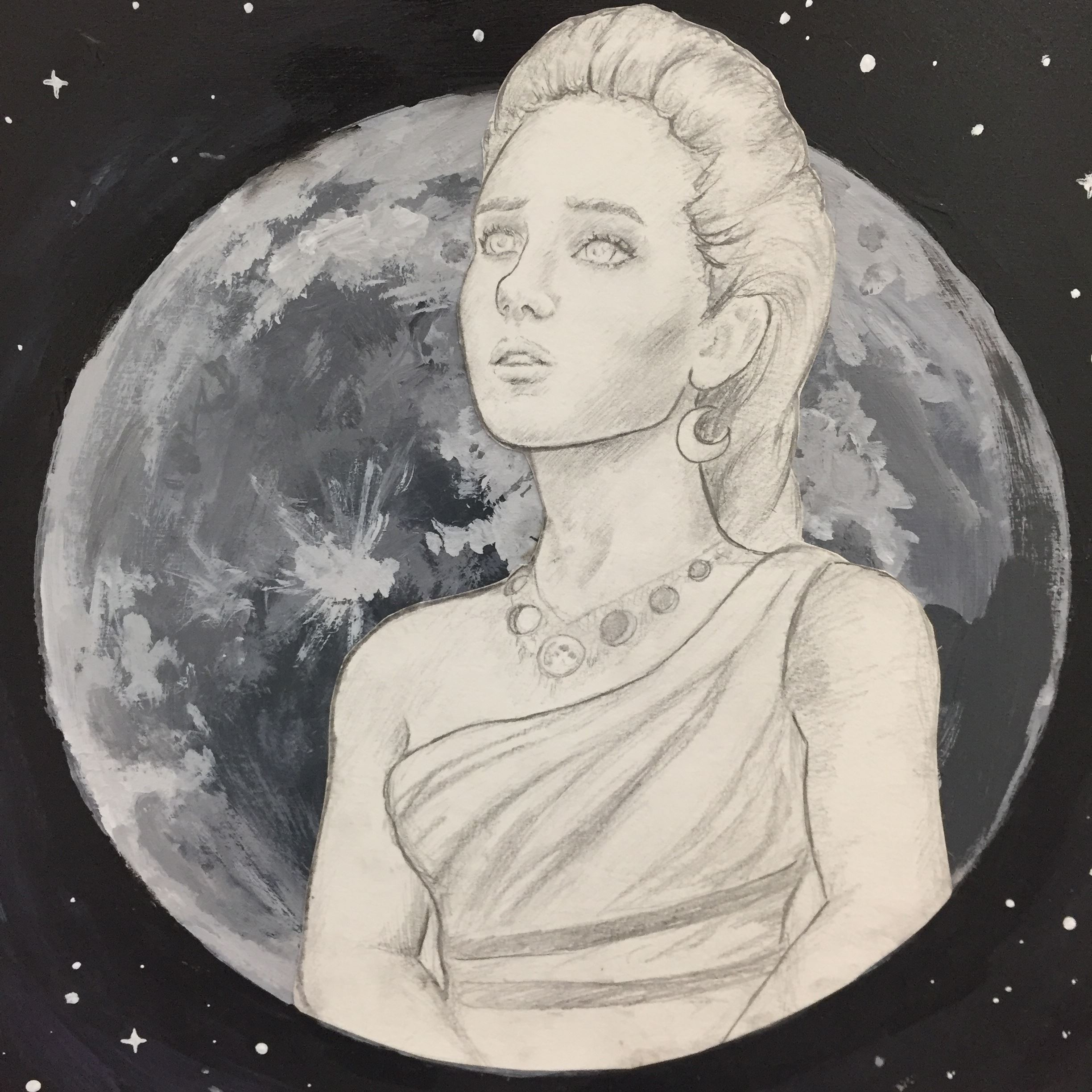 Black and white painting of woman in front of planet