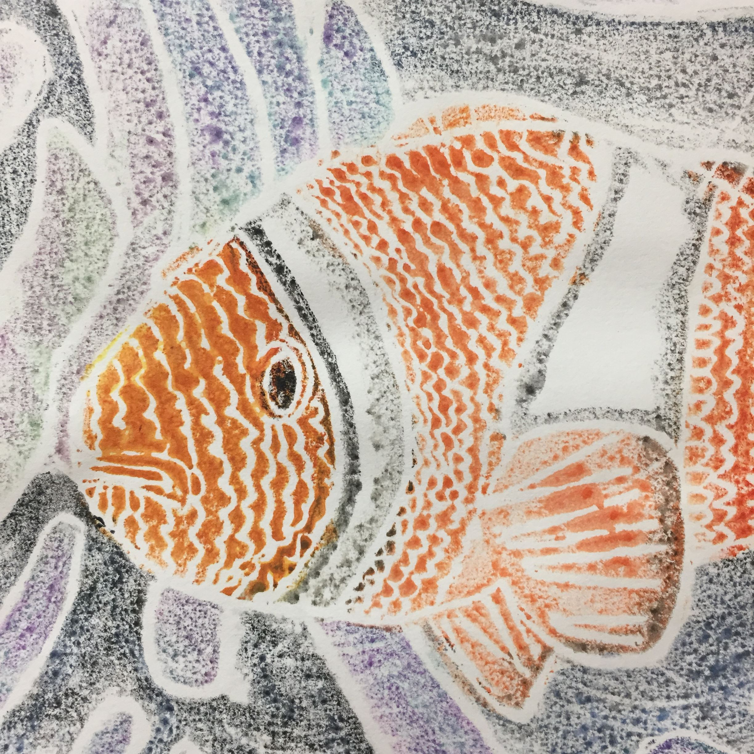 Painting of orange and white fish