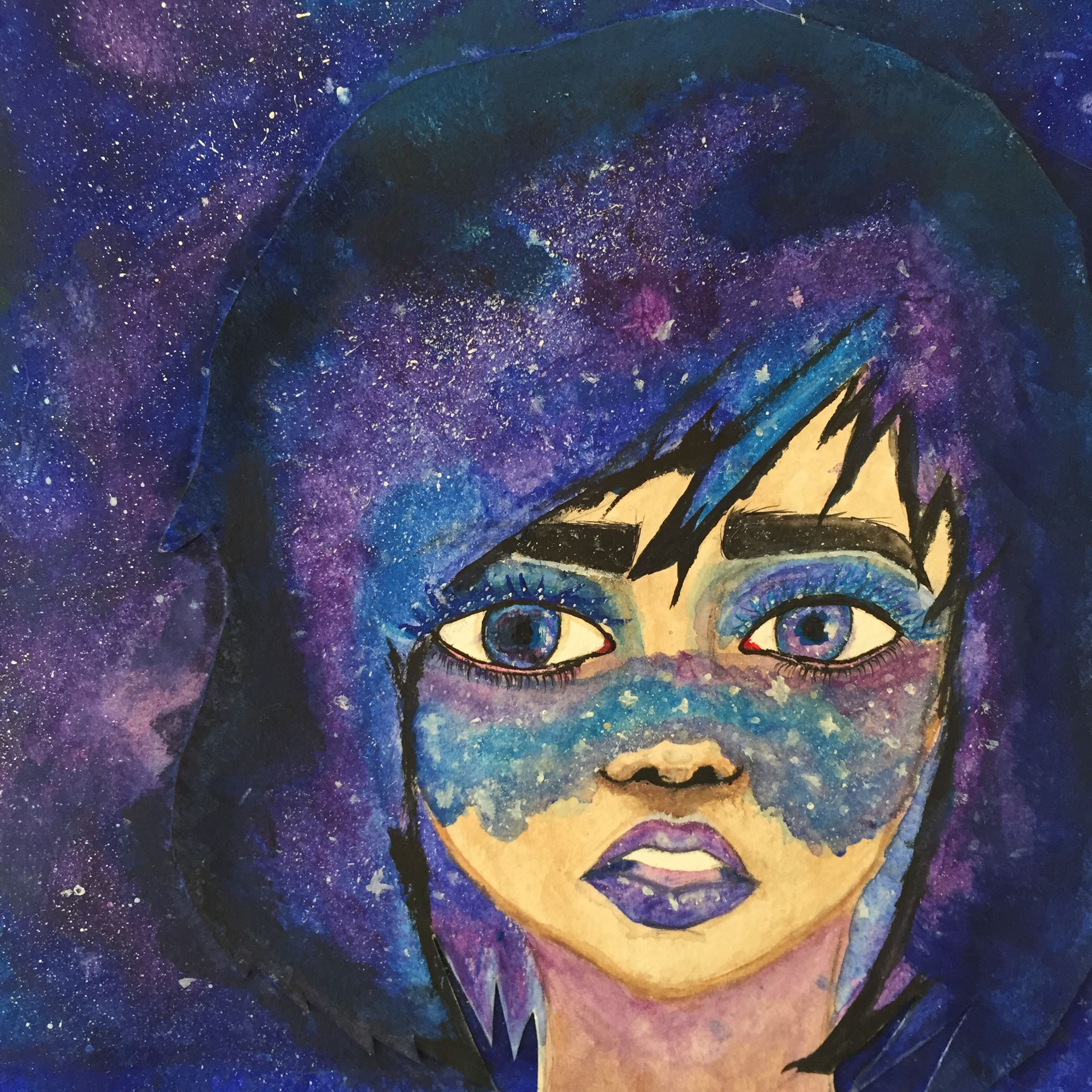 Painting of purple galaxy and woman's face