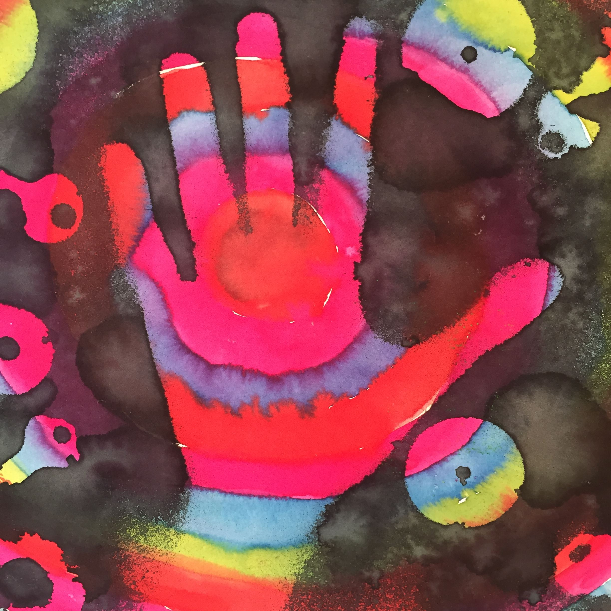 Abstract painting of colorful hand