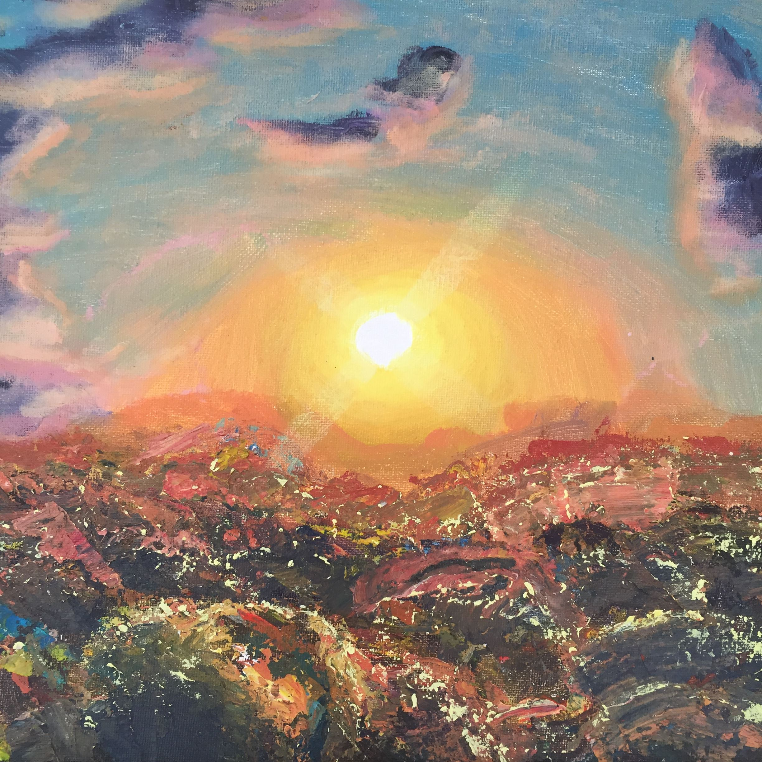 Painting of filed and sunset