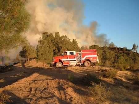 Fire Truck on a Hill at the Patterson Canyon Burn