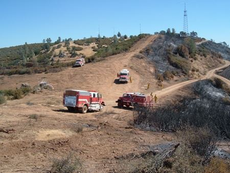 Multiple Fire Trucks at the Patterson Canyon Burn