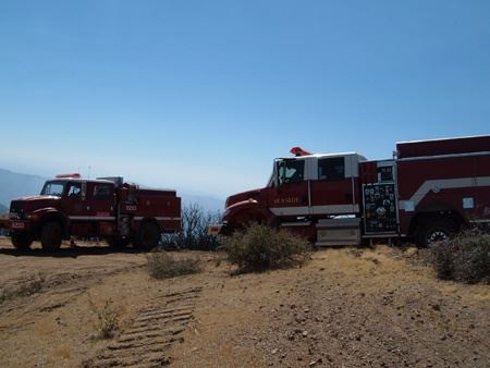 Two Fire Trucks at the Patterson Canyon Burn