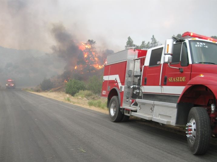 Fire Truck at the Site of the Jawbone Fire in front of flames consuming a tree