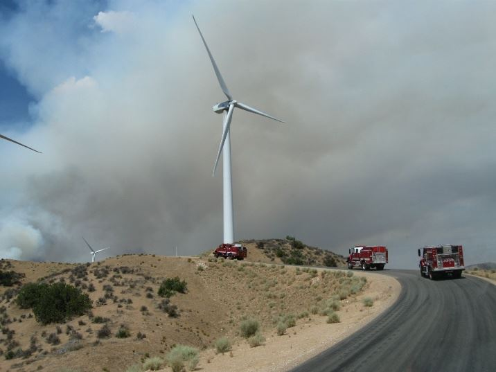 Three fire engines en route to the Jawbone Fire