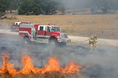 Firefighters Managing a Field Fire With Water Hose