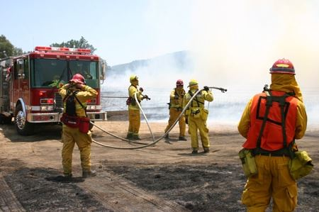 Multiple Firefighters Controlling the Field Fire