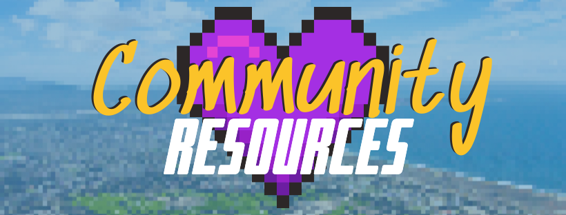 Retro pixelated image with a heart and text that reads Community Resources