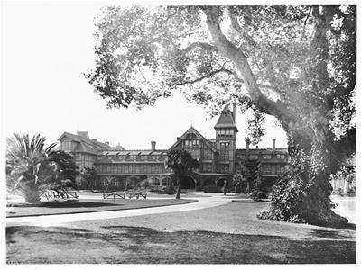 Historic black and white photo of Hotel Del Monte