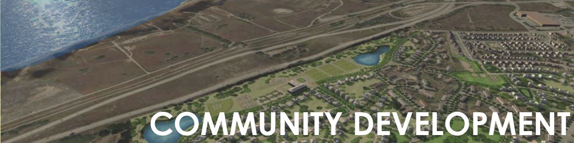 """Community Development"" with image of aerial view of Seaside"