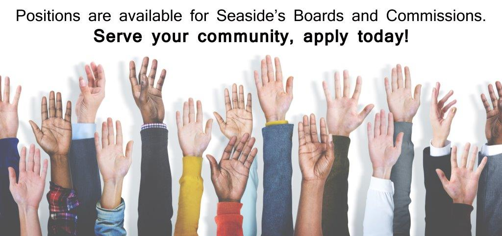 "Text reading ""Positions are available for Seaside Boards and Commissions"" with various raised"