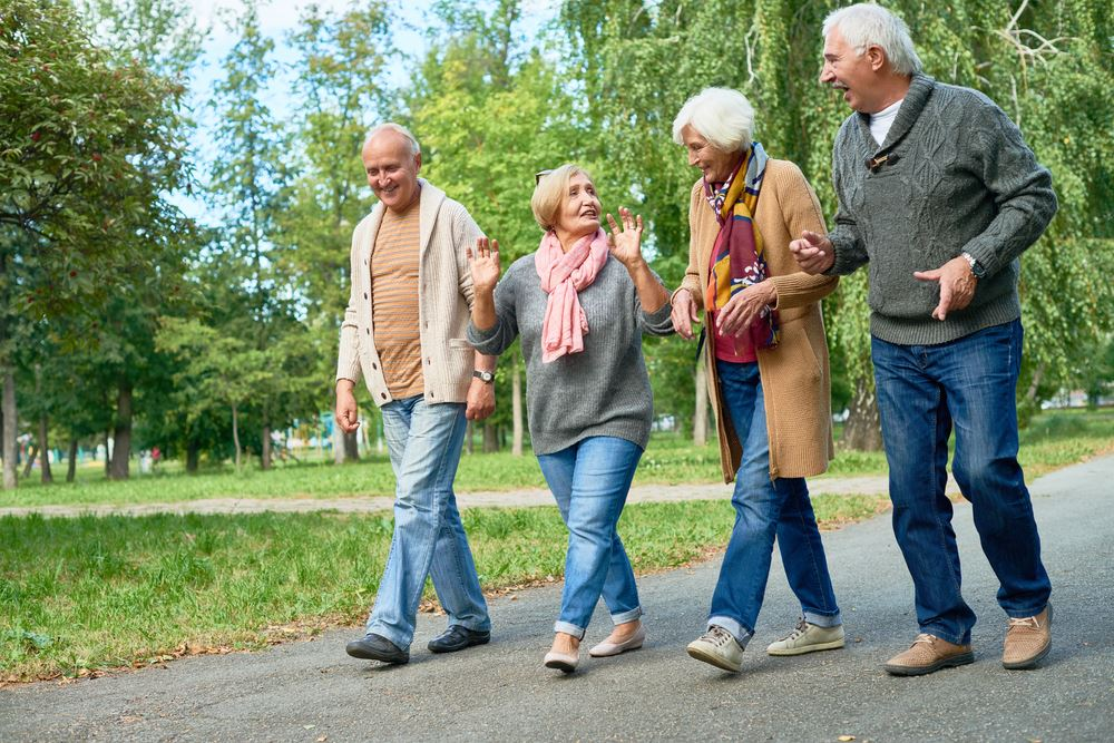 Seniors walking in a park