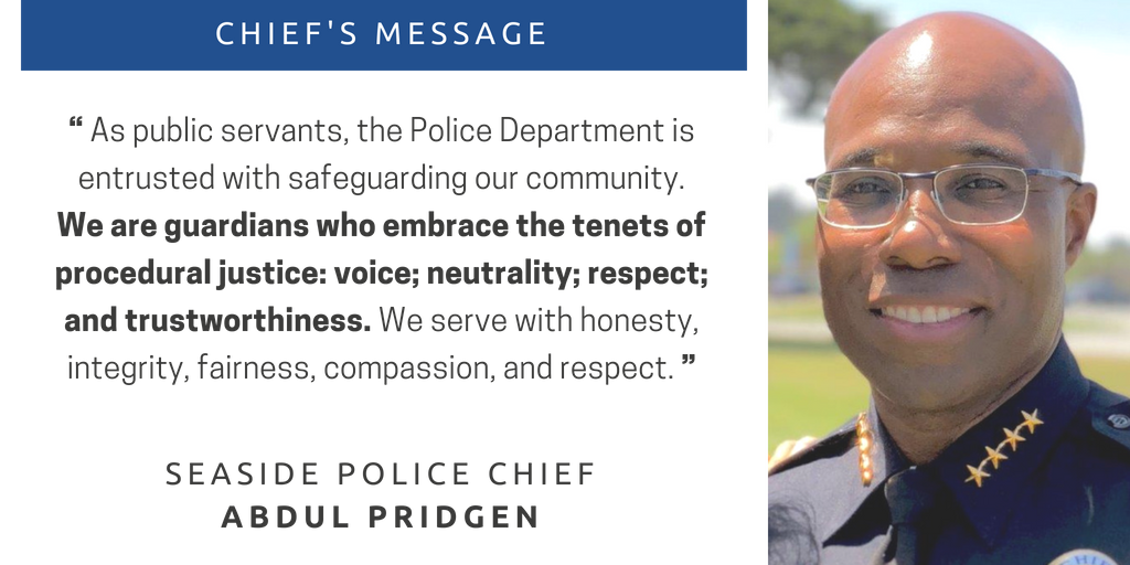 Chiefs Message with image of Chief Pridgen