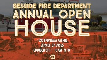 2018 FD Open House flyer with red-toned images of fire apparatus