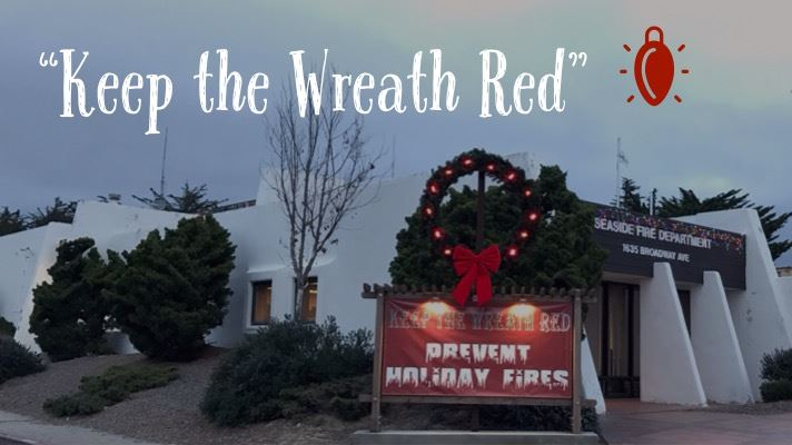 Lit Holiday Wreath Outside of Seaside Fire Station