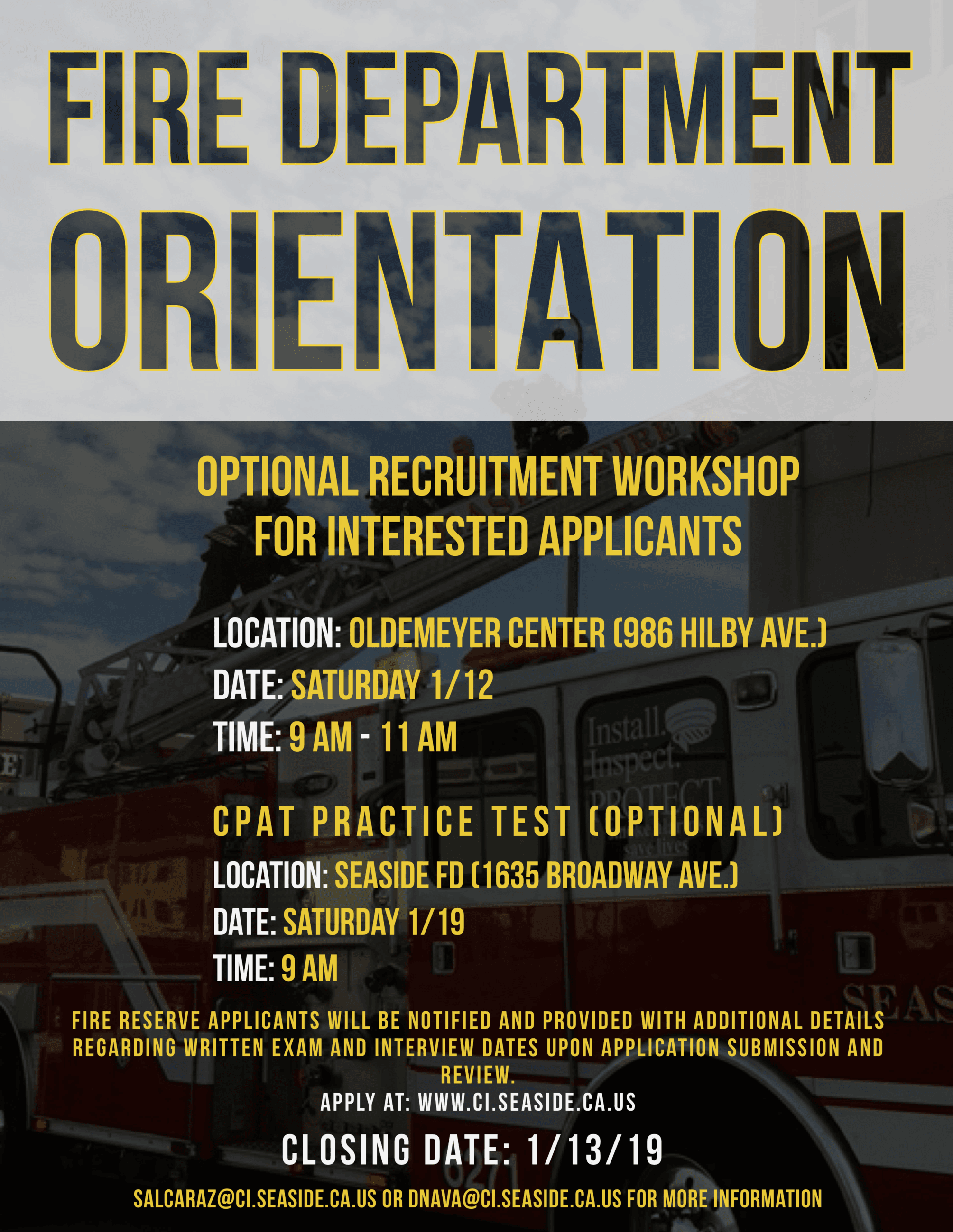 Reserve Firefighter Orientation Flyer with dates of workshop